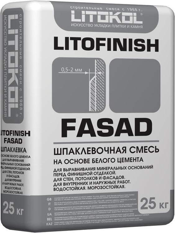 Литокол Litofinish Fasad шпаклевочная смесь на основе белого цемента (25 кг)
