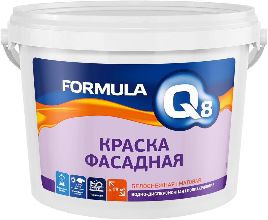 Formula Q8 ВД-АК-101 краска фасадная водно-дисперсионная полиакриловая (3 кг) белоснежная