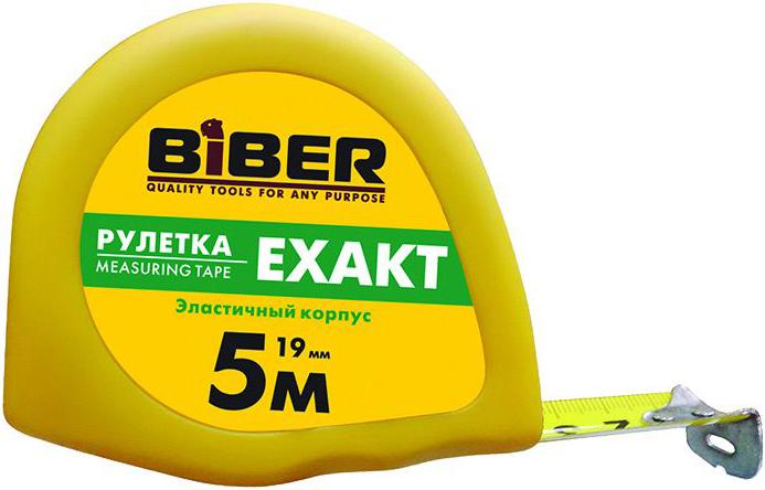 Рулетка эластичный корпус Бибер Exact (19 мм) пластик с резиновым напылением