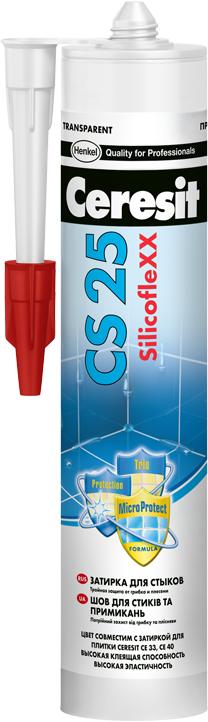 Ceresit CS 25 SilicofleXX затирка-герметик силиконовая для стыков (280 мл) №04 серебристо-серая