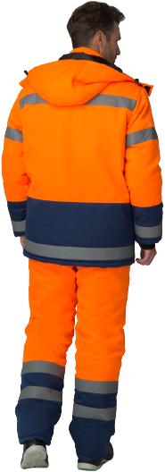 Факел-Спецодежда Дорожник костюм зимний (куртка + брюки) 48-50 /182-188 оранжевый/темно-синий синтепон)