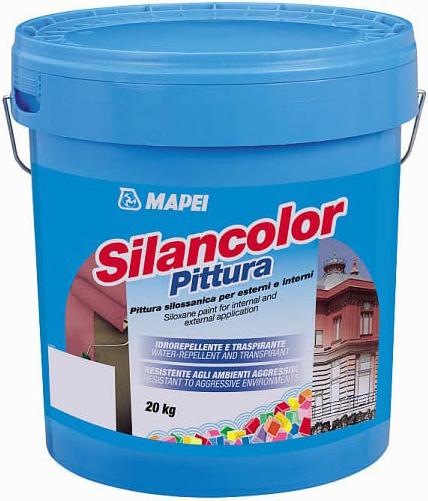 Mapei Silancolor Pittura защитная водостойкая паропроницаемая краска (20 кг) белая
