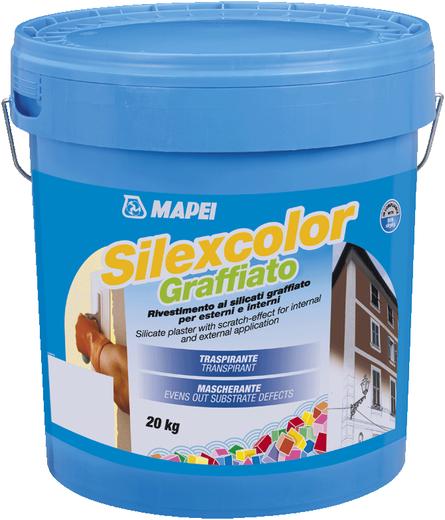 Mapei Silexcolor Graffiato декоративная штукатурка для создания эффекта короед (20 кг база P) зерно 1.2 мм