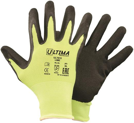 Перчатки нейлоновые с зернистым нитриловым покрытием Ultima 815 Lime (10) нейлон