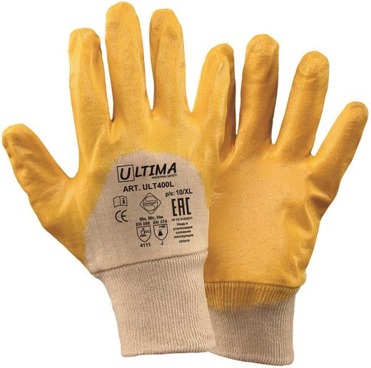 Перчатки с облегченным нитриловым покрытием Ultima 400L (10) хлопчатобумажная ткань