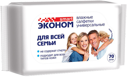 Влажные универсальные салфетки Smart Эконом для Всей Семьи 70 салфеток в пачке