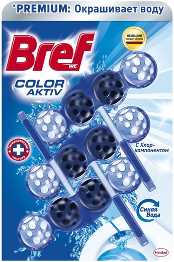 Бреф Premium Бреф Color Aktiv с Хлор-Компонентом туалетный блок (100 г)