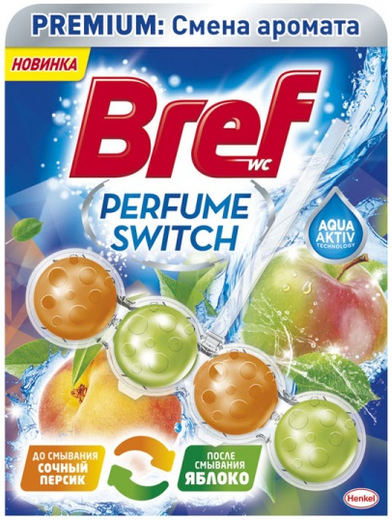 Бреф Premium Бреф Perfume Switch Персик-Яблоко подвесной туалетный блок (50 г)