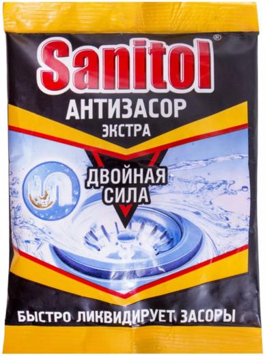 Санитол Антизасор Экстра Двойная Сила средство для чистки труб порошок (90 г)