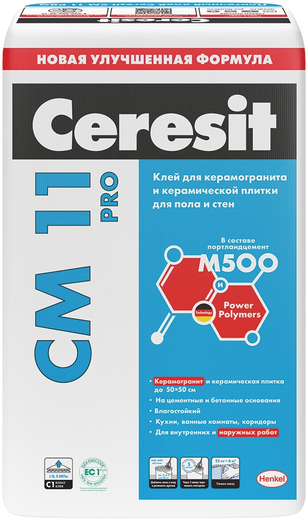 Ceresit CM 11 PRO клей для керамической плитки для пола и стен (25 кг)