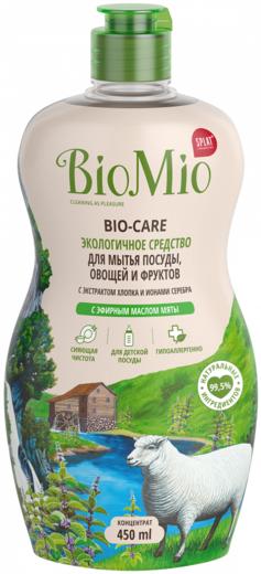 Biomio Bio-Care с Эфирным Маслом Мяты экологичное средство для мытья овощей, фруктов и посуды (450 мл)