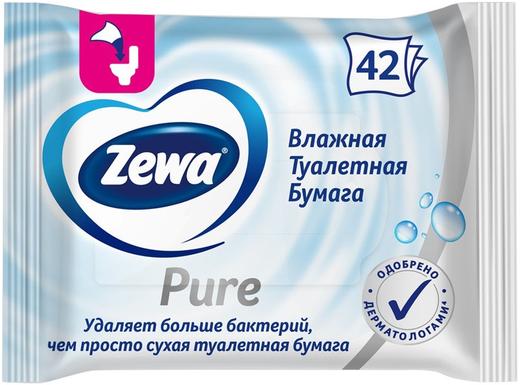 Влажная туалетная бумага Zewa Pure (42 салфетки в пачке)