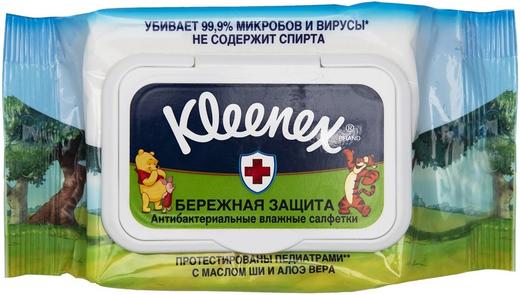Kleenex Бережная Защита Disney салфетки влажные антибактериальные (10 салфеток в пачке)