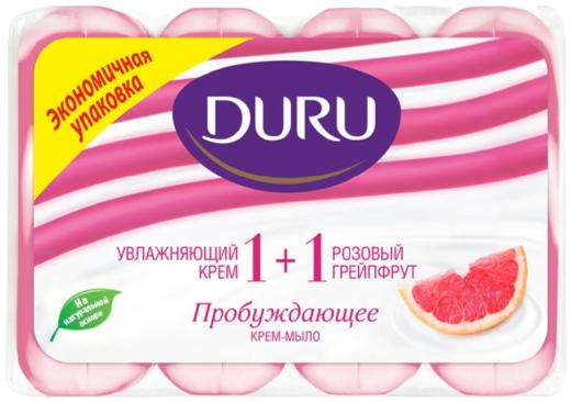 Duru 1+1 Увлажняющий Крем и Розовый Грейпрут мыло туалетное пробуждающее (1 блок)