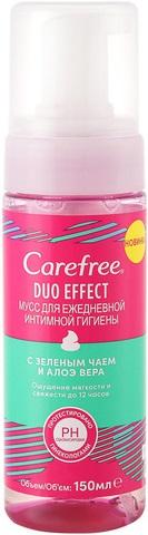Carefree Duo Effect с Зеленым Чаем и Алоэ Вера мусс для ежедневной интимной гигиены (150 мл)