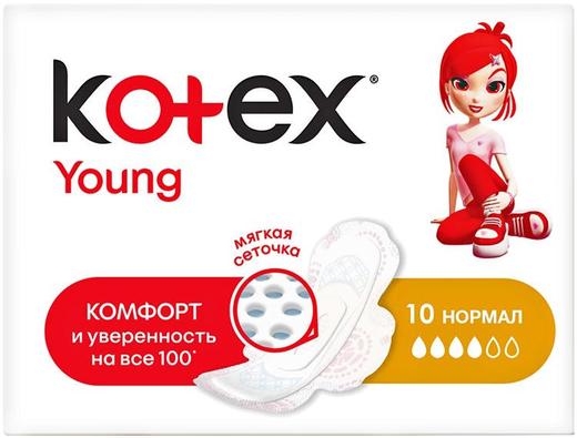 Котекс Young Нормал прокладки женские гигиенические (10 прокладок в пачке) 4 капли