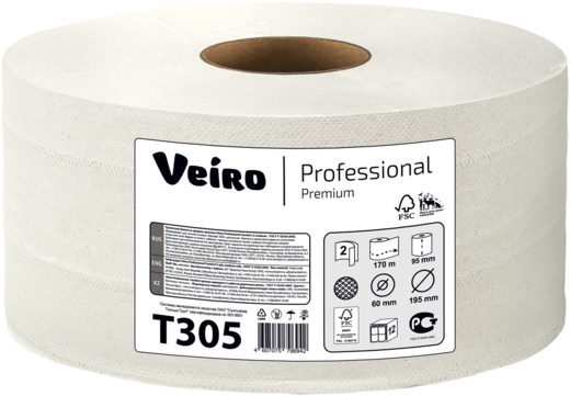 Туалетная бумага в средних рулонах Veiro Professional Premium (2 слоя) 4 рулона в пачке 95 мм