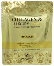 3W Clinic Collagen & Luxury Gold Energy Hydrogel Facial Mask гидрогелевая маска с коллагеном и золотом (1 тканевая маска в пакете)