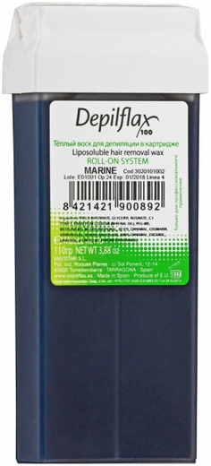 Depilflax 100 Marine теплый воск для депиляции в картридже морской пчелиный