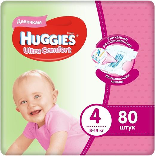 Huggies Ultra Comfort подгузники для девочек 80 подгузников в пачке