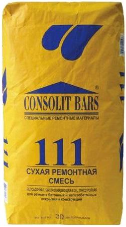 Консолит Консолит Барс 111 сухая ремонтная смесь безусадочная быстротвердеющая (30 кг)