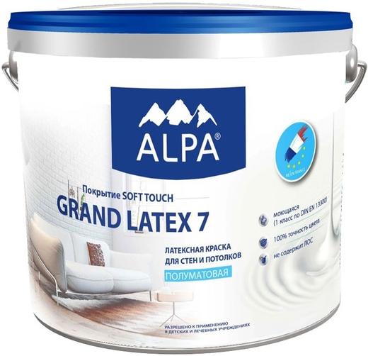 Alpa Grand Latex 7 латексная краска для стен и потолков (900 мл) белая