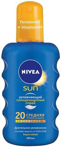 Нивея Sun SPF20 Увлажняющий спрей солнцезащитный водостойкий (200 мл)