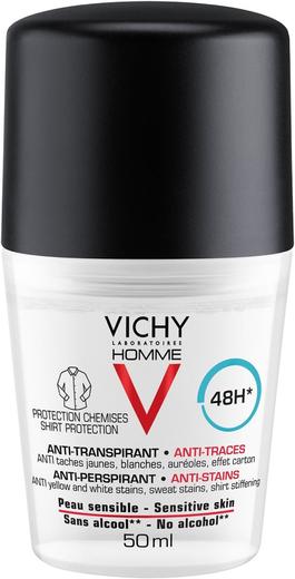 Vichy Homme Anti-Transpirant Protection Chemises 48H дезодорант-антиперспирант роликовый мужской, защита от пятен (50 мл)