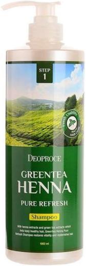 Deoproce Green Tea Henna Pure Refresh Shampoo шампунь для волос с зеленым чаем и хной (200 мл)