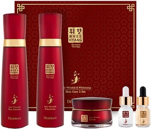 Deoproce Whee Hyang Skin Care 5 Set антивозрастной набор для лица с корнем женьшеня (370 мл)