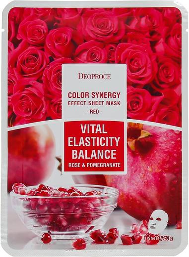 Deoproce Color Synergy Red Vital Elasticity Balance маска тканевая на основе экстракта граната и лепестков роз (1 тканевая маска в саше)
