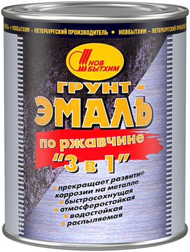 Новбытхим грунт-эмаль по ржавчине 3 в 1 (3 л) серая