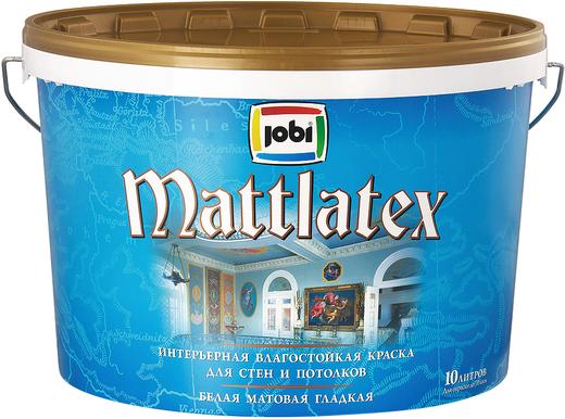Jobi Mattlatex интерьерная влагостойкая краска латексная (10 л) белая гладкая неморозостойкая