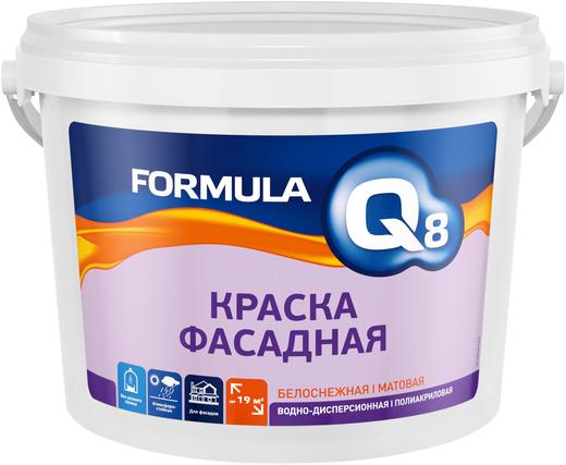 Formula Q8 ВД-АК-101 краска фасадная водно-дисперсионная полиакриловая (13 кг) белоснежная