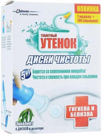Туалетный Утенок Эвкалипт гелевый очиститель унитаза в дозаторе диски чистоты (1 комплект)