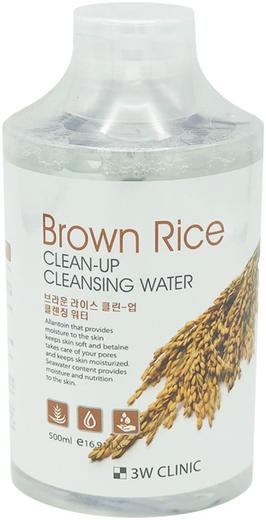 3W Clinic Brown Rice Clean-Up Cleansing Water очищающая вода с экстрактом коричневого риса (500 мл)