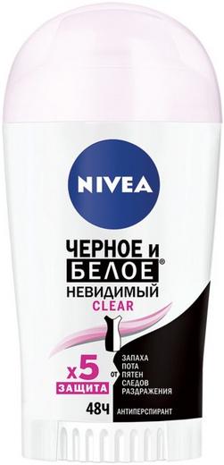Нивея Черное и Белое Невидимый Clear антиперспирант стик (40 мл)