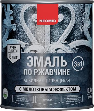 Неомид эмаль по ржавчине с молотковым эффектом 3 в 1 (800 г) черная молотковая