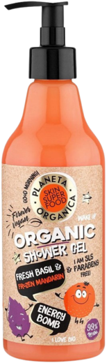 Планета Органика Skin Super Food Energy Bomb Fresh Basil & Frozen Mandarin гель для душа (500 мл)