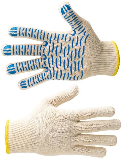 Перчатки трикотажные Техно Авиа Волна 8 (х/б, полиэфир ПВХ класс вязки 10, покрытие волна)