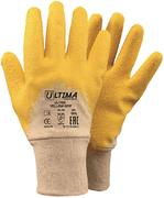 Перчатки трикотажные хб с латексным ребристым покрытием Ultima 600 Yellow Grip