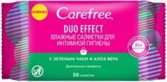 Carefree Duo Effect c Зеленым Чаем и Алоэ Вера салфетки влажные для интимной гигиены