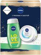 Нивея Love Summer Свежесть Лемонграсса/Soft набор (гель-уход для душа + крем для лица увлажняющий)