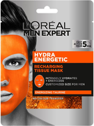 Лореаль Men Expert Hydra Energetic Energizing Taurine маска тканевая увлажняющая