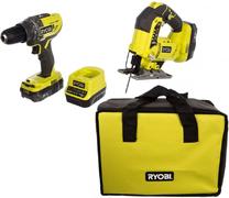Ryobi R18DDJS-220S набор инструментов (дрель-шуруповерт + лобзик)