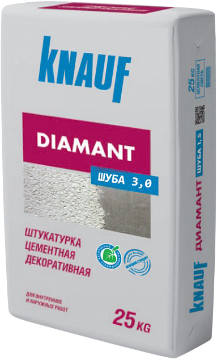 Диамант цементная декоративная 25 кг шуба зерно 3 мм